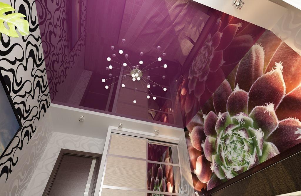 обоев натяжной потолок цветной картинки приятная