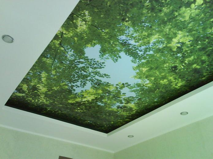 текстурное натяжное полотно с зеленью