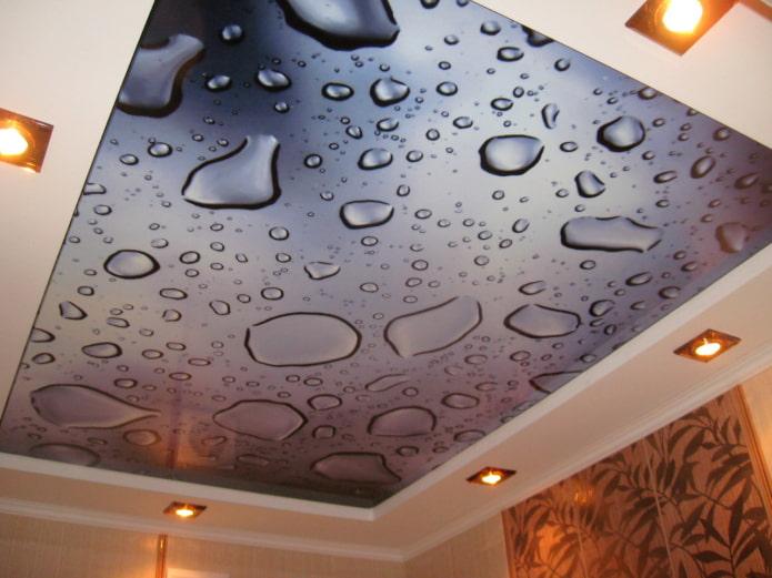 текстурное натяжное полотно с имитацией воды