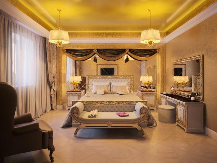 золотой потолок в интерьере спальни