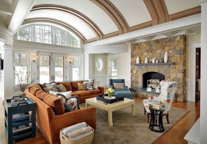 арочный потолок в интерьере