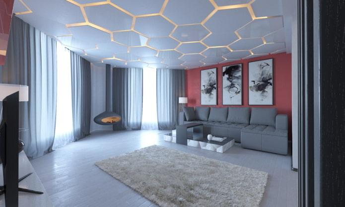 необычный потолочный дизайн в интерьере
