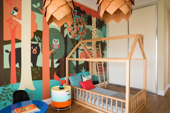 рисунки на стене в интерьере детской