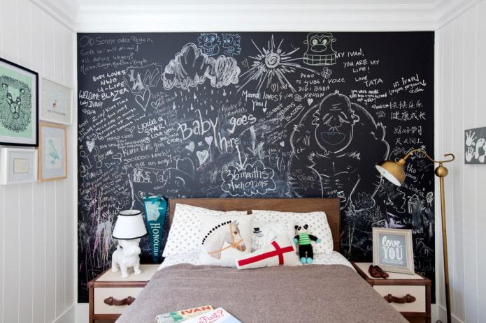 грифельная стена в комнате ребенка