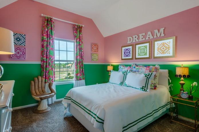 разноцветные стены в интерьере детской