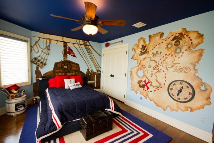 стеновое покрытие в детской в морском стиле