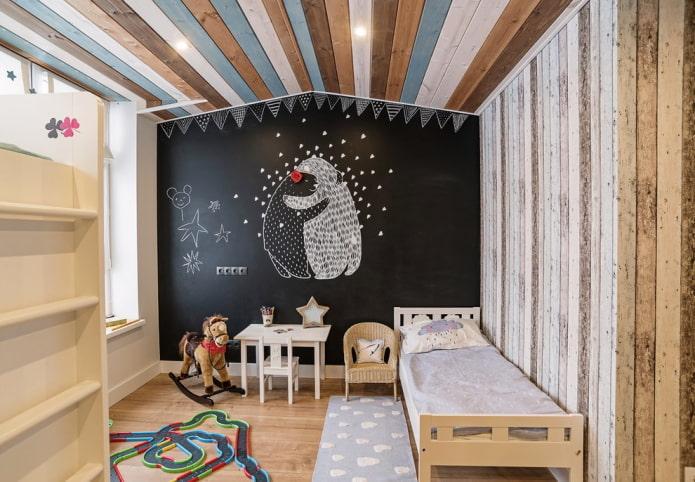 стеновое покрытие в детской в скандинавском стиле