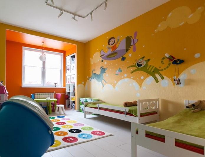 оранжевые стены в интерьере детской