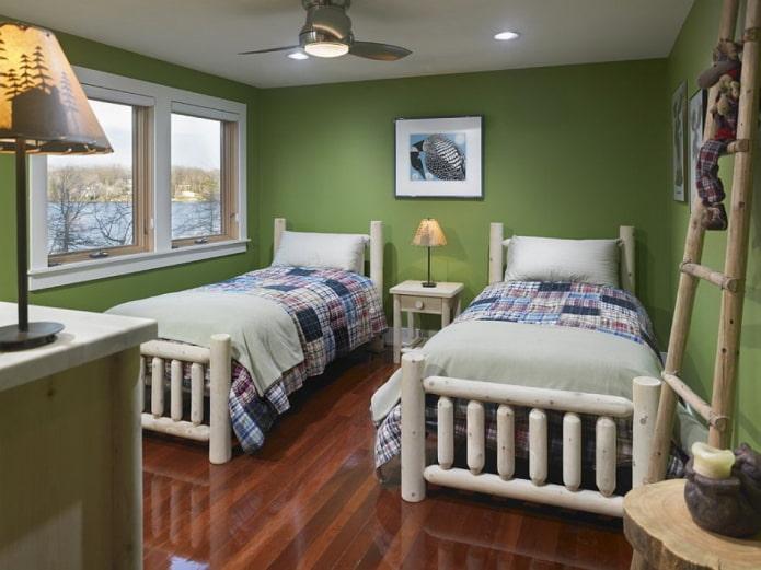 зеленые стены в интерьере детской
