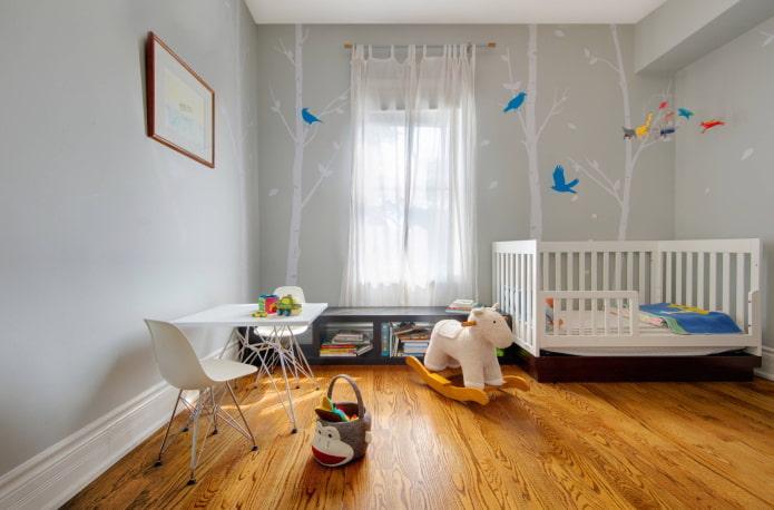 серые стены в интерьере детской