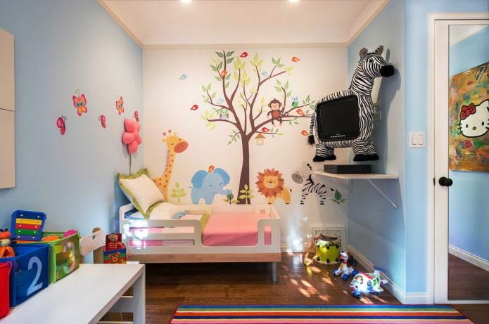 дизайн стен в маленькой детской
