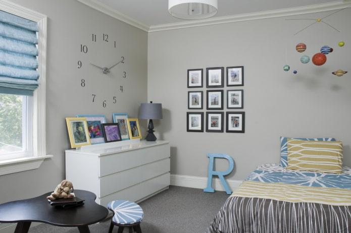 фотографии на стене в интерьере детской