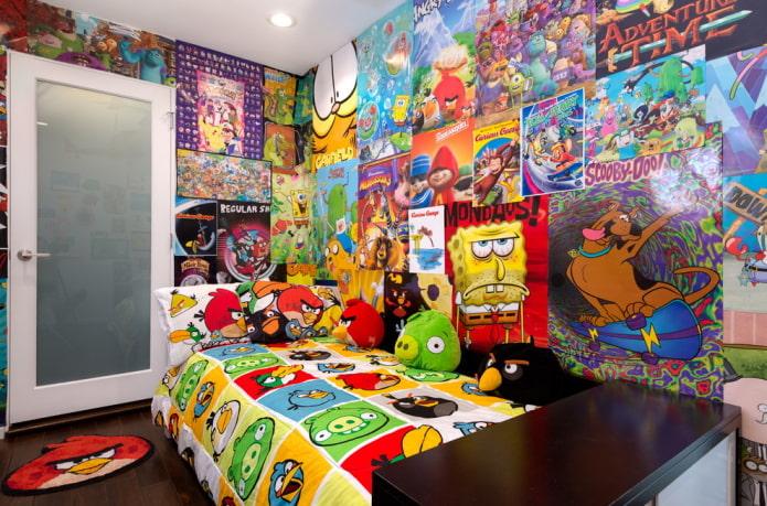 дизайн стен в детской для мальчика