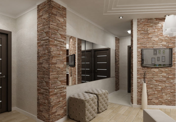 декорированные углы в коридоре