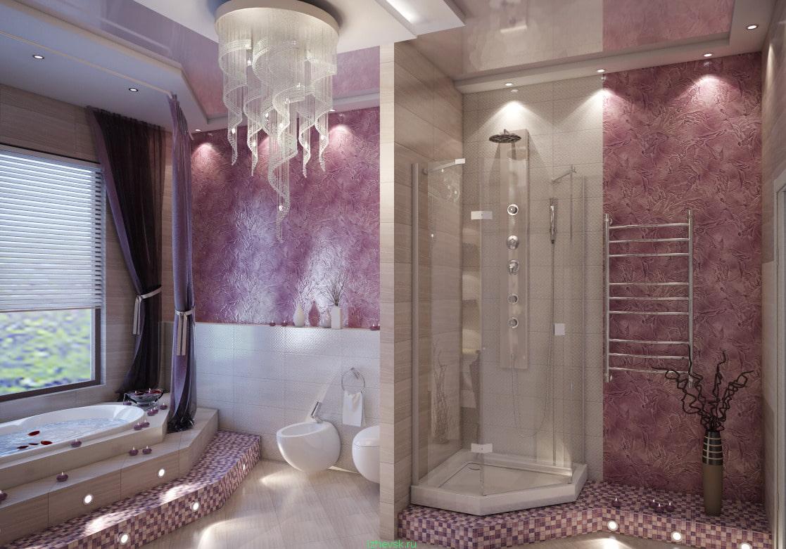 ванная комната отделанная декоративной штукатуркой