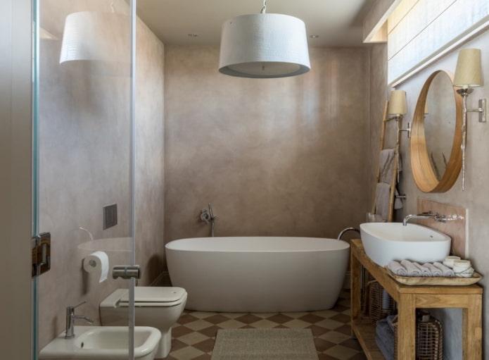 штукатурка на стенах в интерьере ванной