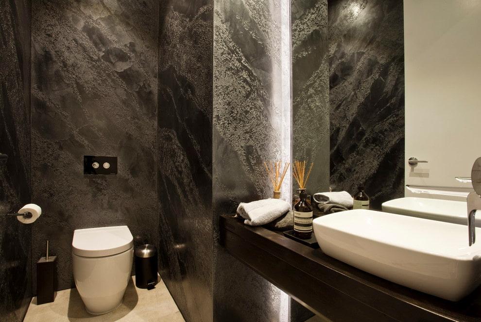 отделка стен в ванной комнате декоративной штукатуркой