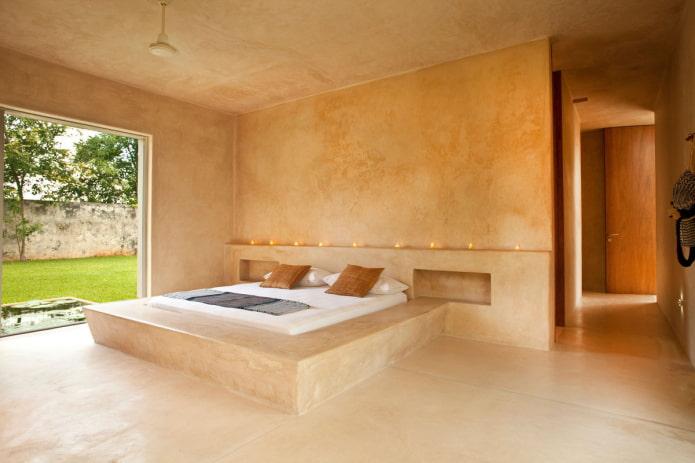 структурная штукатурка в интерьере спальни