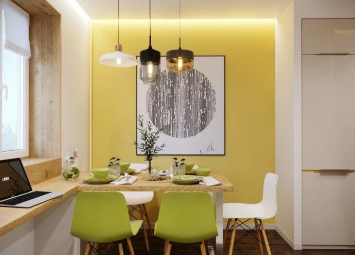 дизайн стены в обеденной зоне
