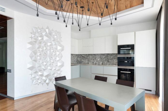 лепные узоры на стене на кухне