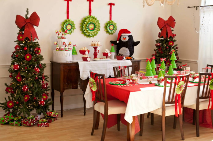 новогодний декор в интерьере кухни
