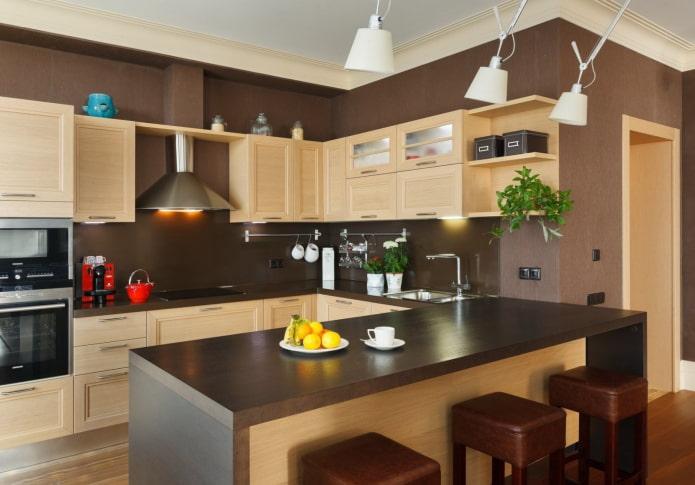 коричневые стены в интерьере кухни