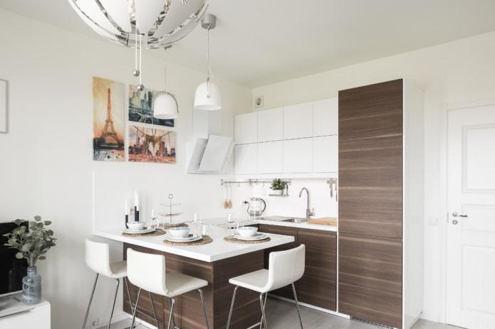 белые стены в интерьере кухни