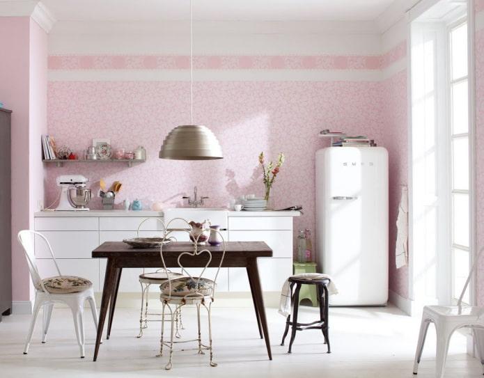 розовые стены в интерьере кухни