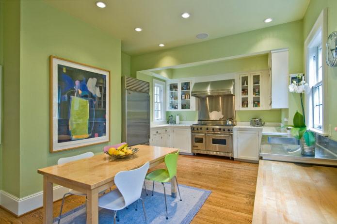 стены салатового оттенка на кухне