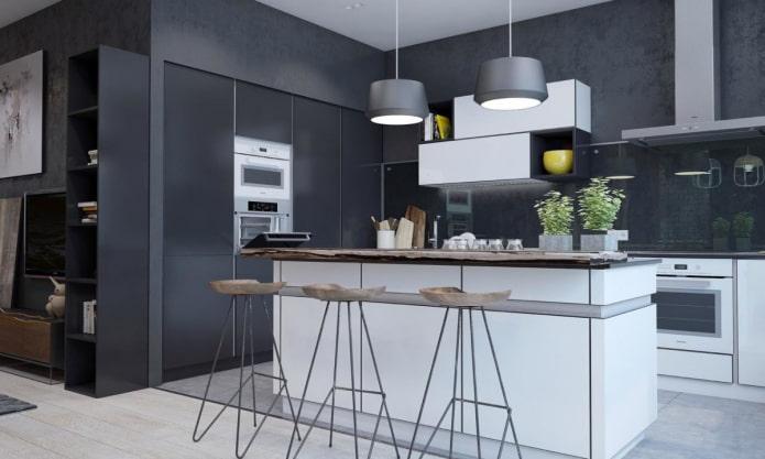 черные стены в интерьере кухни