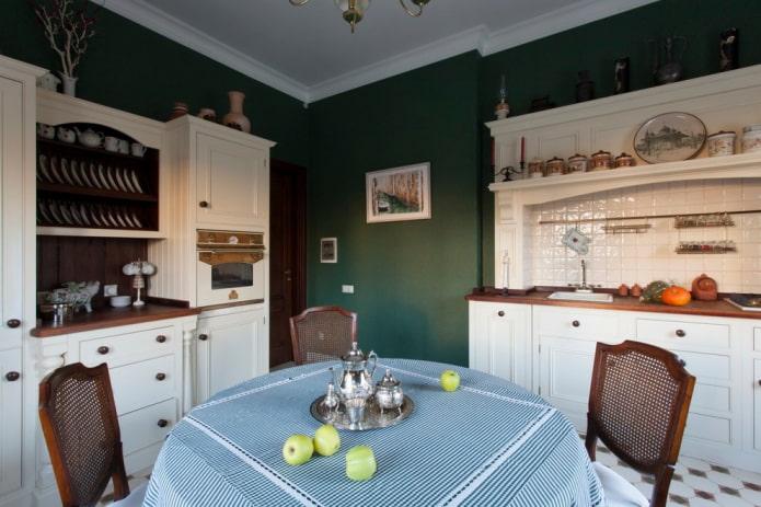 стены темно-зеленого оттенка на кухне