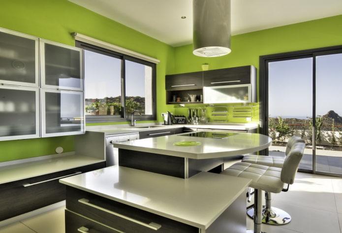 зеленые стены в интерьере кухни