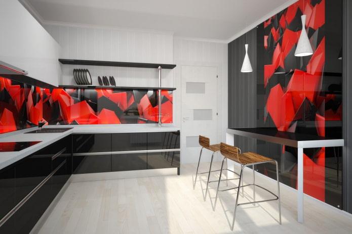 красно-черное сочетание на стенах