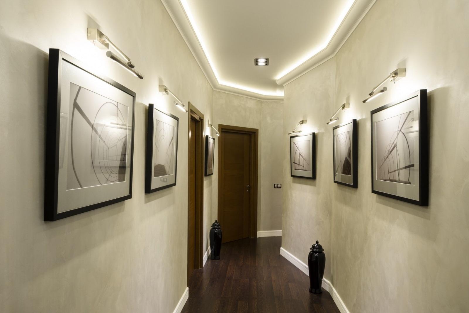 дом освещение в длинном коридоре фото сделать годный