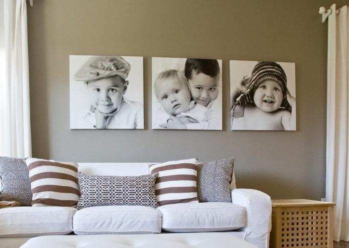 Оформление стены фотографиями: 60 фото, красивые идеи в рамках, на прищепках и др.