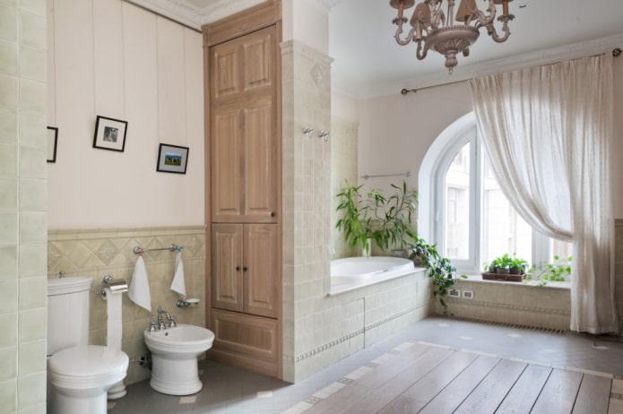 шкаф в виде перегородки в интерьере ванной