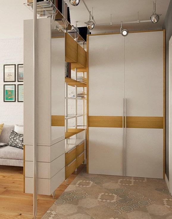 угловой шкаф в виде перегородки в интерьере