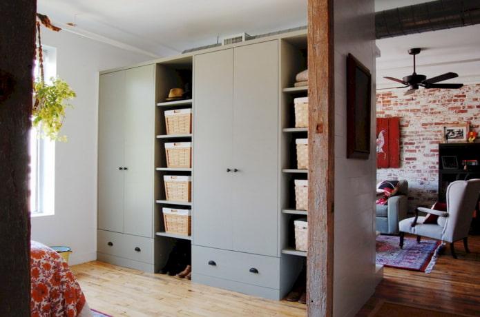 шкаф в виде перегородки в интерьере в стиле лофт