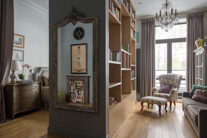 шкаф в виде перегородки в интерьере в классическом стиле