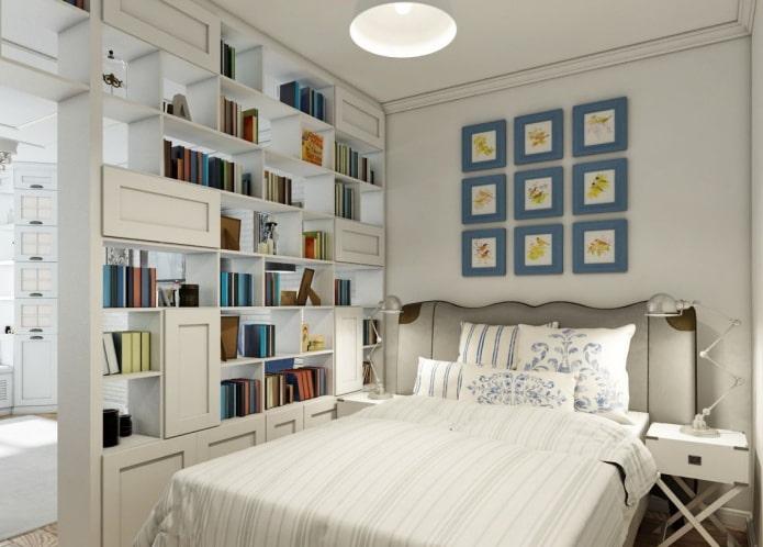 шкаф в виде перегородки в интерьере в стиле прованс