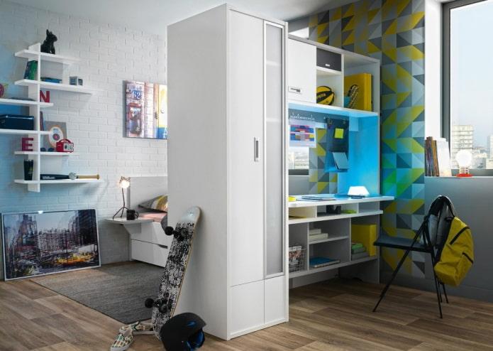 шкаф в виде перегородки в интерьере детской