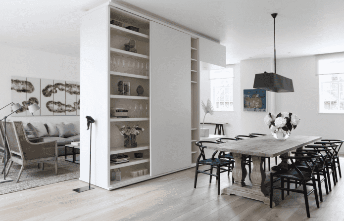 шкаф в виде перегородки в интерьере кухни-гостиной