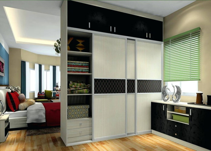 двухсторонний шкаф в виде перегородки в интерьере