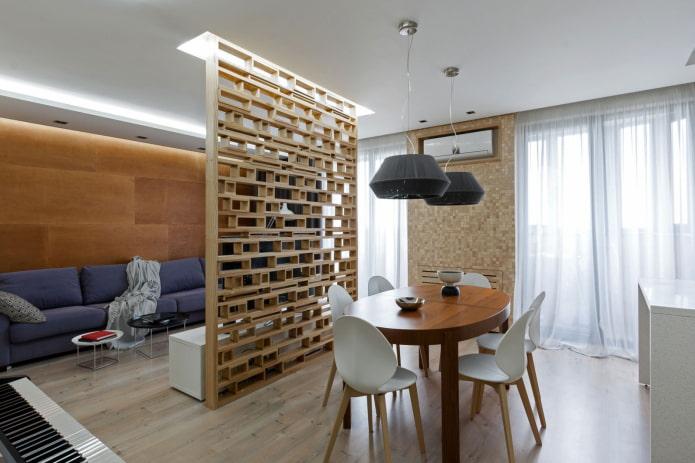 декоративная перегородка в интерьере кухни-гостиной