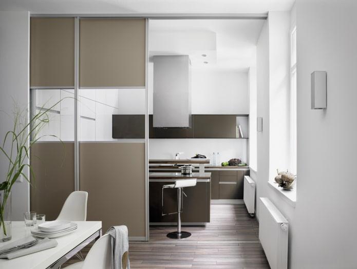 перегородка в интерьере кухни-столовой