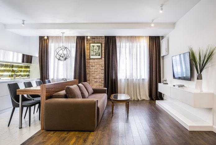 мебель в виде перегородки в интерьере кухни-гостиной