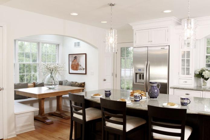 Перегородка между кухней и гостиной: 60 фото, красивые варианты зонирования