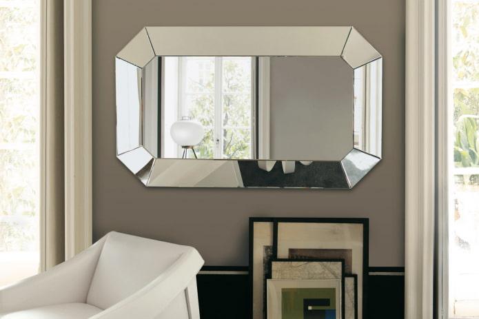 зеркальное изделие с двойным фацетом в интерьере