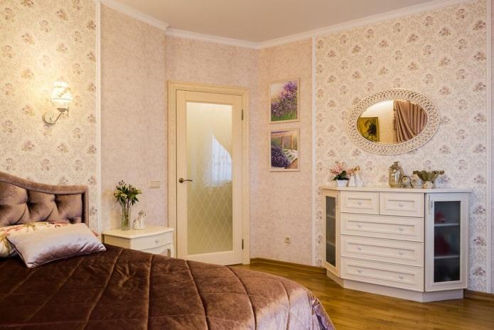 стеклянные двери в спальне в стиле прованс