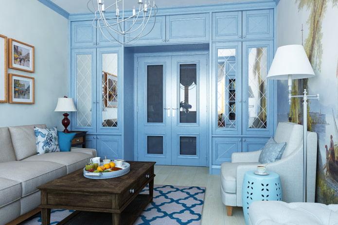 голубые двери в интерьере в стиле прованс